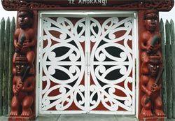 Kowhaiwhai detail on the gates at the entrance to Nga Hau e Wha National Marae.