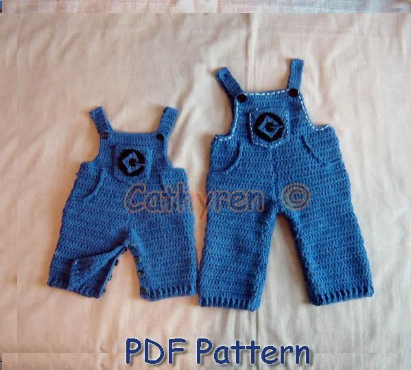 Crochet Patterns For Baby Overalls : Baby Minion Overall with Dr Glu Lab Logo pattern on ...