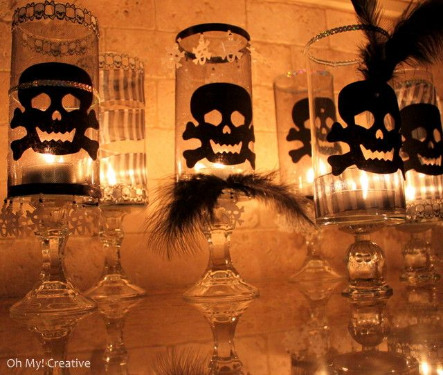 DIY Skull candle holders from dollar store stuff