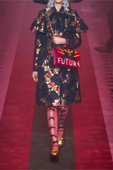 Gucci - Crystal-embellished Metallic Floral-jacquard Coat - Midnight blue - IT42
