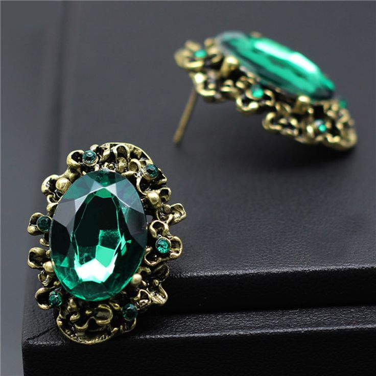 2016 Fashion Wedding Accessories Antique Bronze Vintage Emerald Big Stone Crystal Rhinestone Stud Earrings For Women Jewelry >>> Check out this great product.