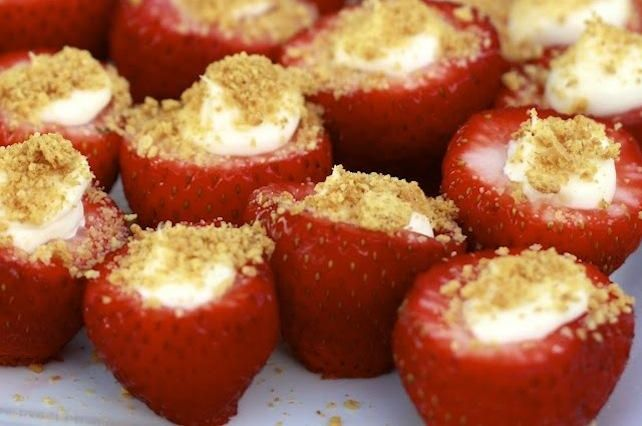 I'm a big fan of cheesecake, but I've never liked Strawberry Cheesecake. I have this thing about artificial fruit flavors, and strawberry is one of the biggest offenders. Then I found this recipe, which takes a delicious cheesecake-like filling and shoves it into a real strawberry! Dipped in graham cracker crumbs, what could be better? Serve as a side dish with breakfast, or as a dessert!: Cheesecake Bites, Recipe, Strawberries Cheesecake, Crackers Crumb, Fillings Strawberries, Cheesecake Stuffed, Graham Crackers, Stuffed Strawberries, Cream Chee