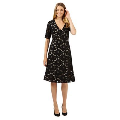 Betty Jackson.Black Designer black floral lace dress- at Debenhams.com