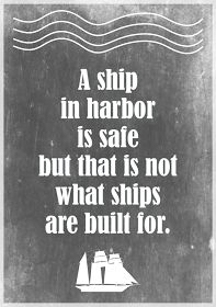 MeinLilaPark – digital freebies: Free printable motivational quote about stress: a ship in harbor... – ausdruckbarer Spruch – freebie