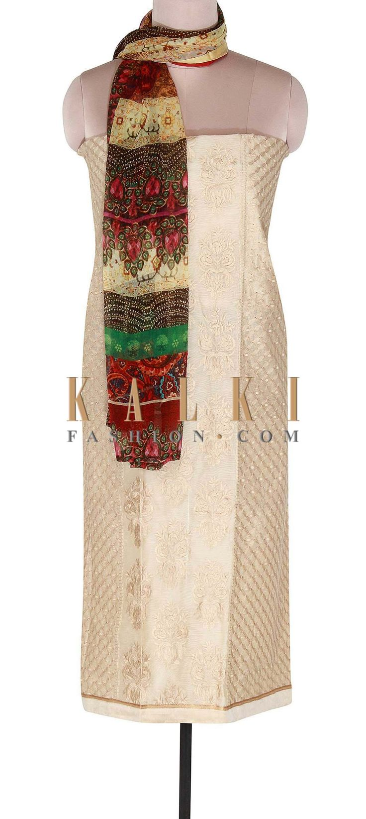 Buy Online from the link below. We ship worldwide (Free Shipping over US$100). Product SKU - 300567. Product Link - http://www.kalkifashion.com/cream-unstitched-suit-adorn-in-floral-resham-work-only-on-kalki.html