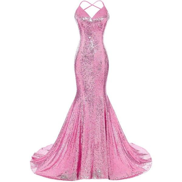 DYS Women's Sequins Mermaid Prom Dress Spaghetti Straps V Neck... ($73) ❤ liked on Polyvore featuring dresses, gowns, homecoming dresses, white evening gowns, white dresses, white sequin gown and white prom dresses