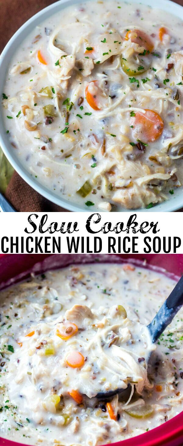 Slow Cooker Chicken Wild Rice Soup {A Warm Weather Comfort Soup}Creamy, hearty and filling this Slow Cooker Chicken Wild Rice Soup is the perfect comfort soup for those cool winter nights! via @amiller1119