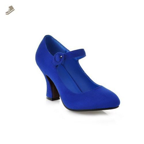 VogueZone009 Womens Closed Round Toe High Heel Suede Frosted PU Solid Mary  Jane Pumps, Blue