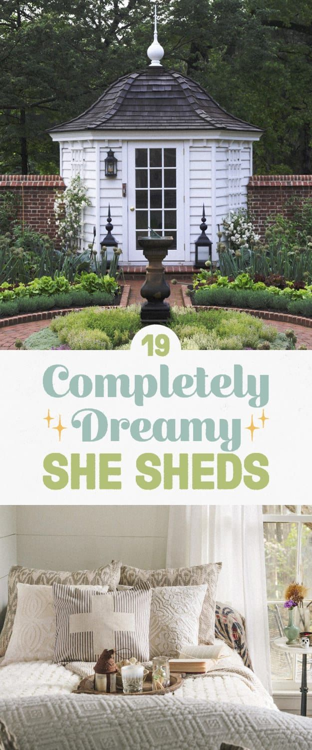 'She shed' is a kind of terrible name for a concept that's actually pretty cool: a female alternative to the 'man cave,' AKA a dedicated space where a gal can go to read, work on her hobbies, or just get five minutes of peace. Here are some truly dreamy ones from the book She Sheds: A Room of Your Own.