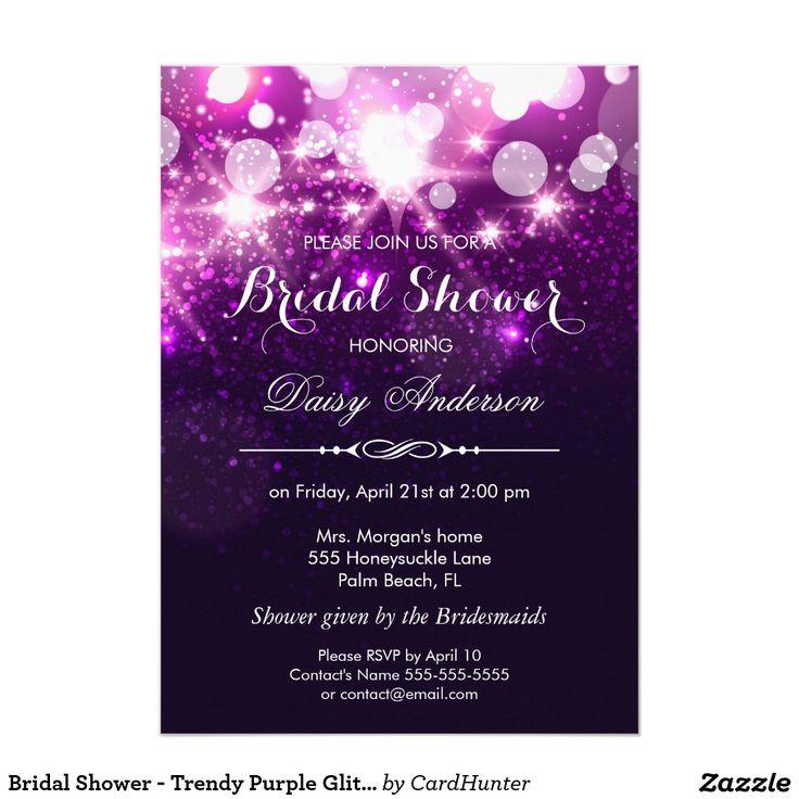 purple white silver wedding invitations%0A Bridal Shower  Trendy Purple Glitter Sparkles Card