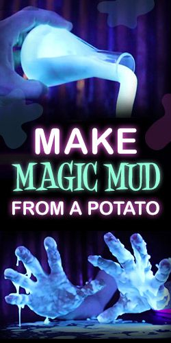 Make Magic Mud From A Potato, edible, you can also make your own potato starch...and eat the tatoes too!