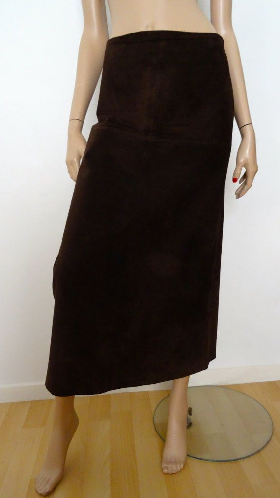 7ceefe362ddbb CYRILLUS brown suede leather skirt size 40 - uk 12 - us 8 | Cuir ...