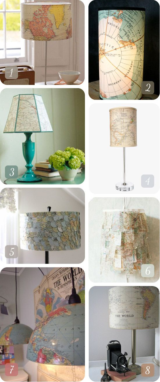 vintage map lights; AugustEmpress via: 1. Not on the High Street 2. Czechpub 3. Apartment Therapy 4.Country Living 5. Eclu 6. Umbu 7. Ohdeedoh 8. The Old Lamp Shed