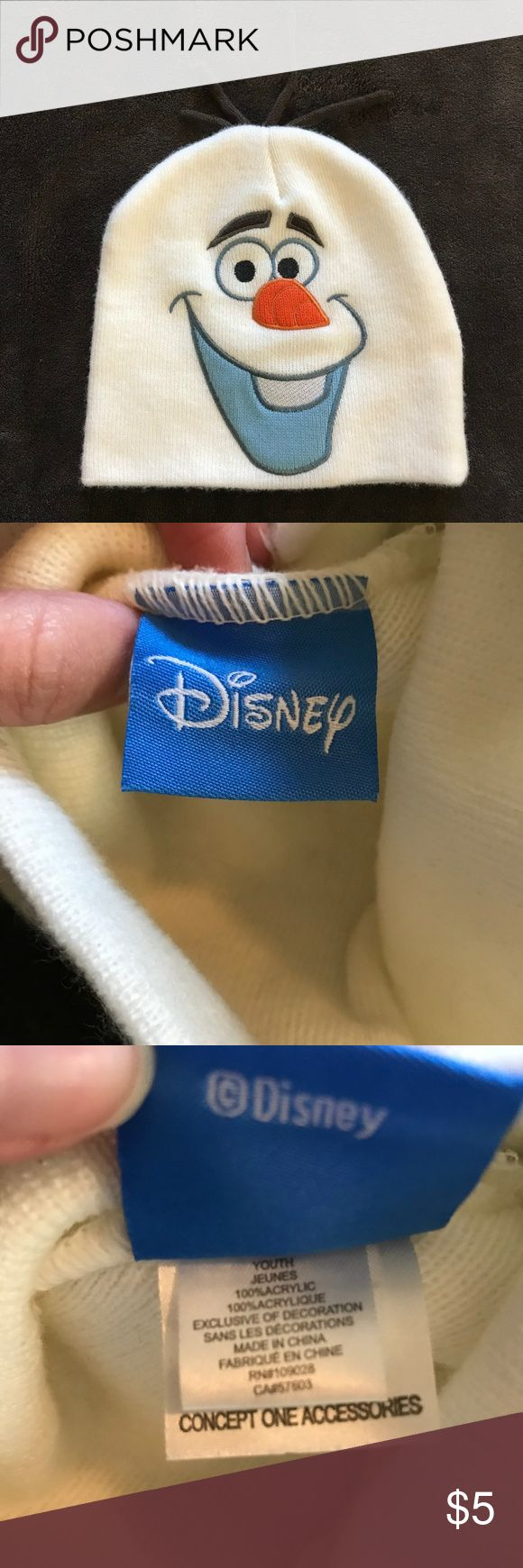 """Olaf from Frozen Disney Kids Beanie Hat Snow Good old smiling Olaf the snowman from Frozen (Disney) beanie knit hat for kids.  Size just says """"Youth"""" - this will most likely fit kids from age 5-10 the best.  Very good pre-owned condition. Disney Accessories Hats"""