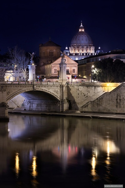 Rome. The old city and its vanity mirror - S. Peter reflected in the Tiber