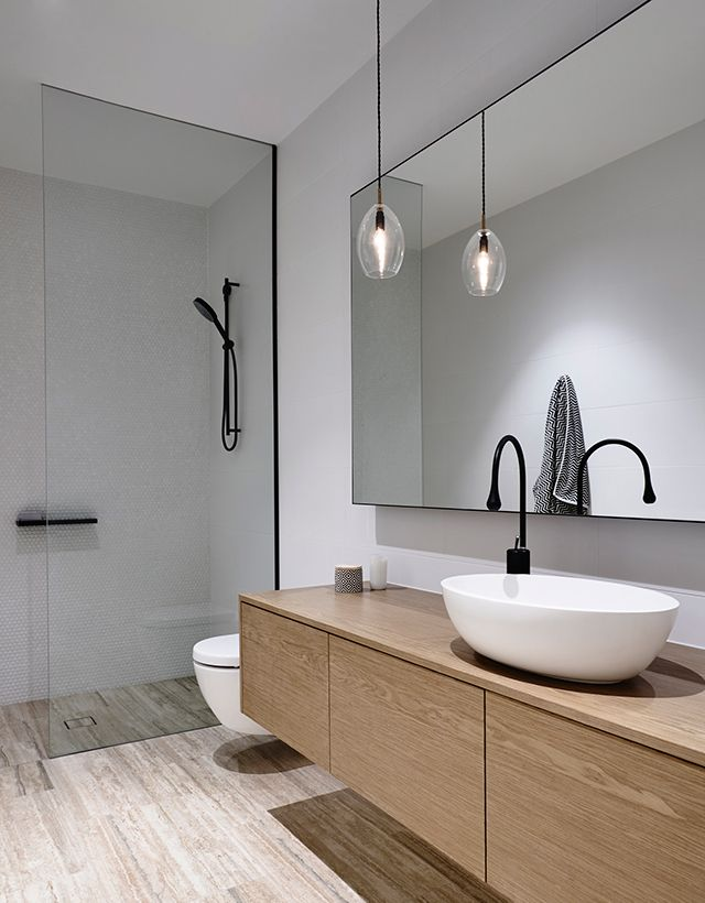 Minimalism Minimalist Design Urban Chic Bathroom White Walls With Light Wood Black Faucets And Shower Head Single Glass Pendant