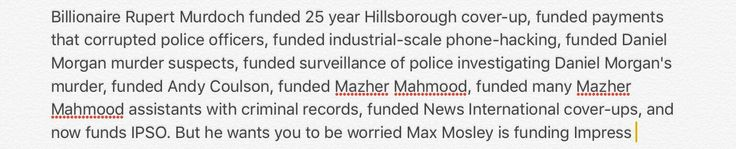 The Sun is attacking Max Mosley again for funding Impress press regulator. So here's that list again of who Rupert Murdoch has funded