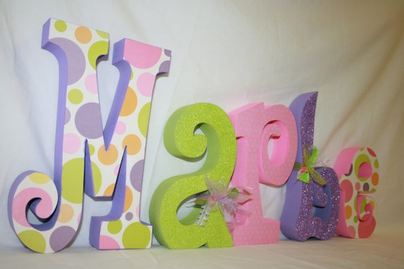 Baby Name Letters Wood Polka Dot Decor Nursery Hand Painted Kids Room Custom