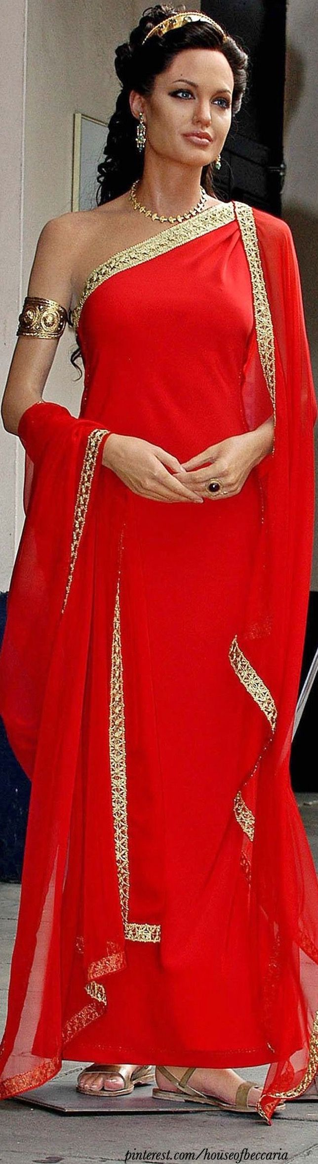 ~Angelina Jolie in Alexander, Red Grecian Dress | The House of Beccaria