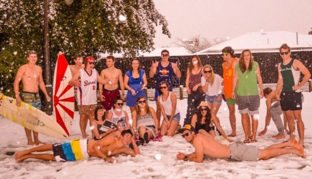 Chch students enjoying the snow