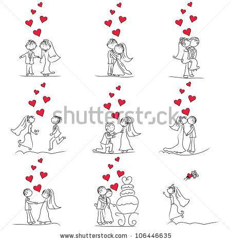 Bride And Groom Cartoon Figures   stock vector : 9 set of cute little cartoon wedding couple doodle