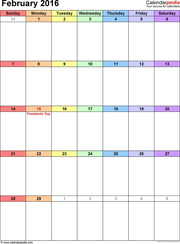 February 2016 calendar as printable Word, Excel & PDF templates