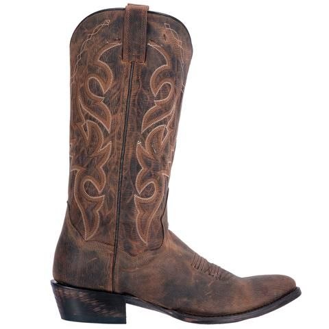 """These authentic handmade leather mens cowboy boots from Dan Post feature a 13"""" shaft, r toe, and distressed leather outsole. Made with only premium materials an"""