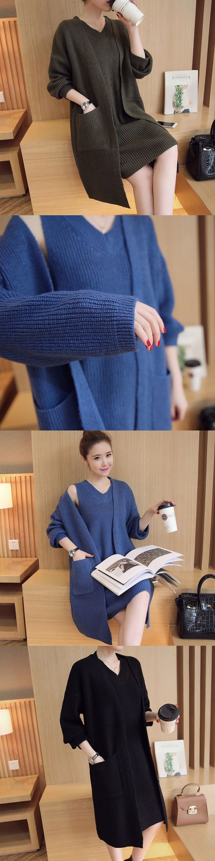 Fashion Fall Women 2 Piece Set Sweater Knitted Long Coat+Vests Sweaters Dress Warm Casual Office Female Sweater Suit
