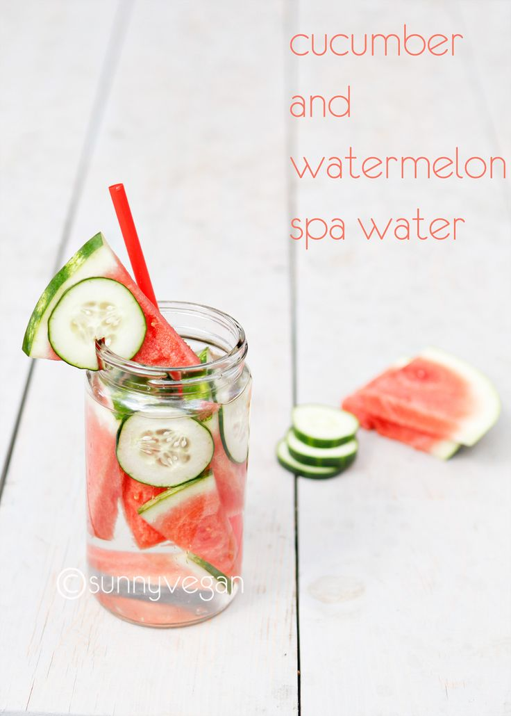 Take 5 spa water with melon and cucumber_love adding a few lime/lemon slices