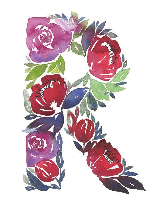 Watercolor alphabet Letter R print Initial R by TulipPoplarCo