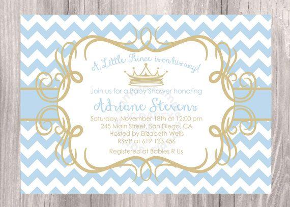 Poco Príncipe bebé ducha invitación, invitación de ducha baby azul chevron…