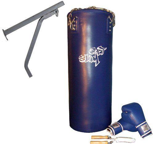 GAT POWER BWP3bl Boxset blau mit Wandmontage Paket: 90 cm Boxsack, Boxhandschuhe, Springseil und Boxsackhalterung von GAT POWER.