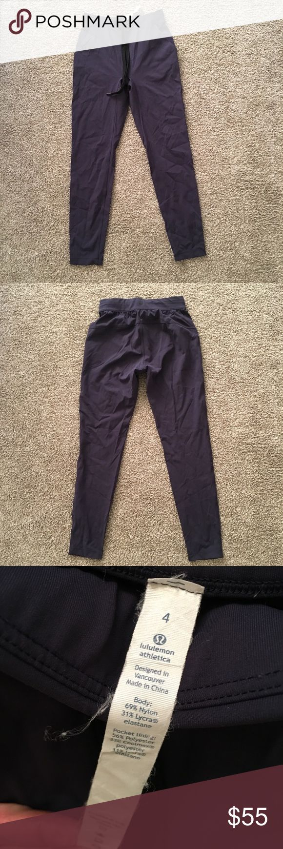 Women's Lululemon Pants In excellent used condition. This style is no longer available, sold out in stores and online. Size: 4. The color is blue with a purple undertone.  They are extremely comfortable. Great for lounging around, running errands, and/or exercising. I CrossFit and run, they are very comfortable during my exercise and keep me nice and warm.  👖ALWAYS OPEN TO REASONABLE OFFERS👖  😊BUNDLE FOR ADDITIONAL SAVINGS😊  👎🏻NO LOW BALLS PLEASE, MY PRICES ARE LOW AND VERY…