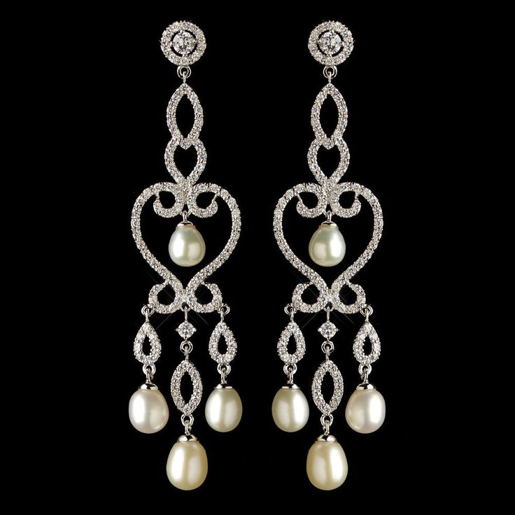 Dramatic CZ and Freshwater Pearl Chandelier Bridal Earrings - Affordable Elegance Bridal -
