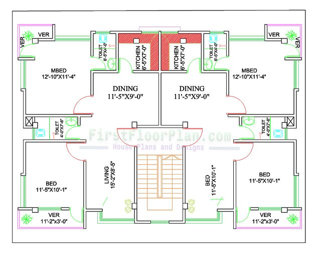 Two Units Village House Plan | 50 X 40 | 4 Bedrooms ...