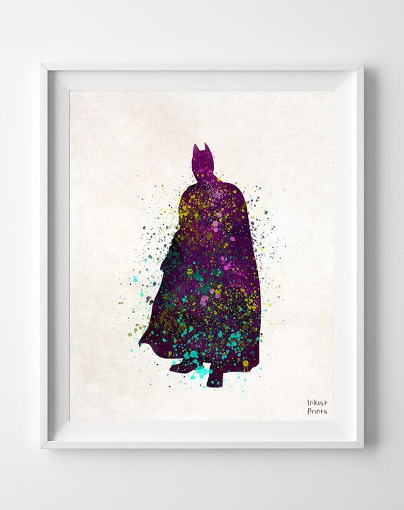 Batman Print Watercolor Superhero poster Marvel by InkistPrints, $11.95 - Shipping Worldwide! [Click Photo for Details]
