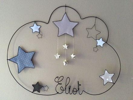 Réalisation d'un prénom en fil d'aluminium avec étoiles très originale pour décorer la chambre de votre enfant dimensions : largeur 51 X hauteur 36 Personnalisation sur dem - 15306675