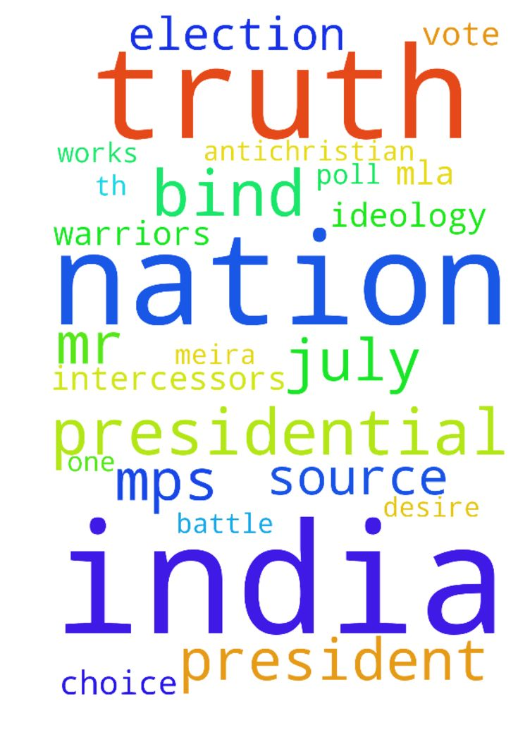 *Up-coming Presidential Election*           *17 July - Upcoming Presidential Election 17 July 2017 Dear Intercessors amp; Prayer Warriors of India There are around 233 MPs in Rajya Sabha, 543 MPs in Lok Sabha and 4,120 MLA in State Assemblies of our country. All sources say that out of the 4,896 MPs and MLAs, many are confused and do not know, at present, whom to cast their precious vote for on 17th July. The BJP and its NDA allies, the TRS, YSRCP, AIADMK, BJD and the JD U have also…