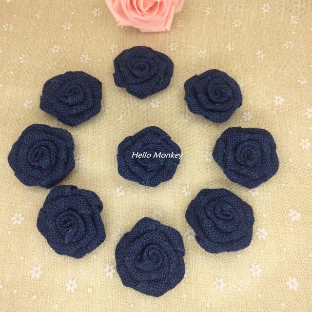 Safir Mavi Renk Doğal Jüt Çuval Bezi Hessen Çiçek Gül El Yapımı Vintage Düğün Dekorasyon DIY rustik düğün dekor