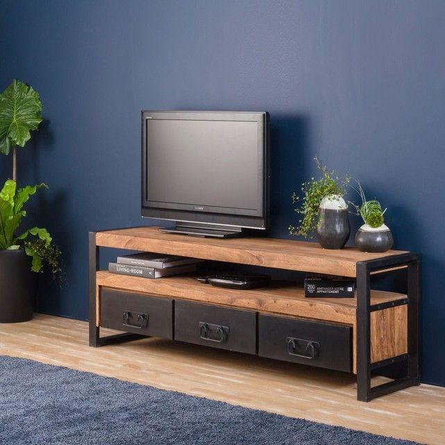Meuble Tv Industriel 3 Tiroirs En Bois D Acacia Fonce Meuble Tv Industriel Mobilier De Salon Idee Meuble Tv