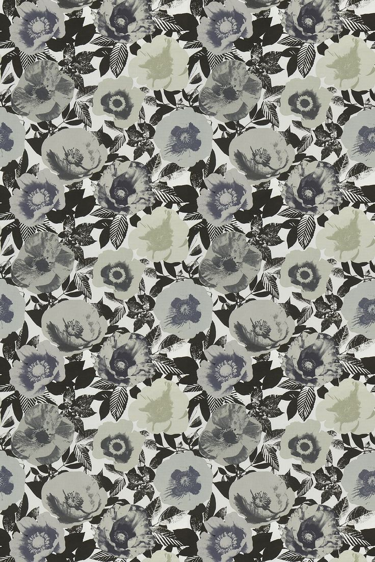Madone Marble (5826/018) - Prestigious Fabrics - A contemporary fabric with a digital print of large flowers on a black and white background of foliage. Shown here in shades of grey and black. Please request a sample for a true colour match. 100% cotton.