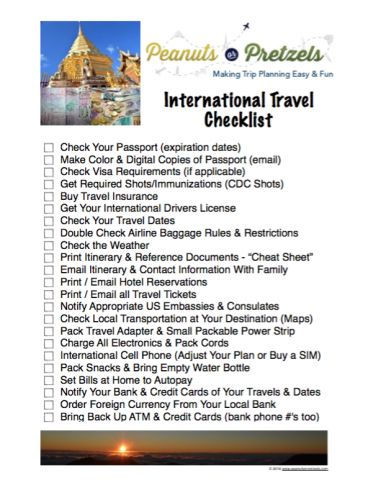 International Travel Checklist - Be Prepared for Your Trip - Peanuts or Pretzels