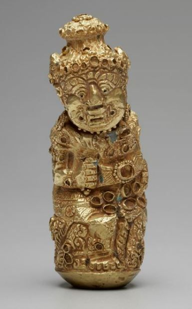 Keris Hilt (84) form of a Demon 11th-14th century. Gold. Java, Indonesia