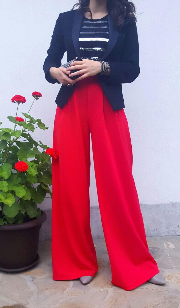 Wedding guest outfit; red wide pants; black blazer; grey heels