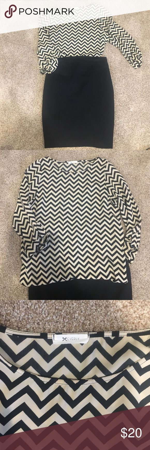 Evenly chevron top medium Chiffon chevron top in taupe and black. Size medium. Worn minimally. Everly Tops Blouses