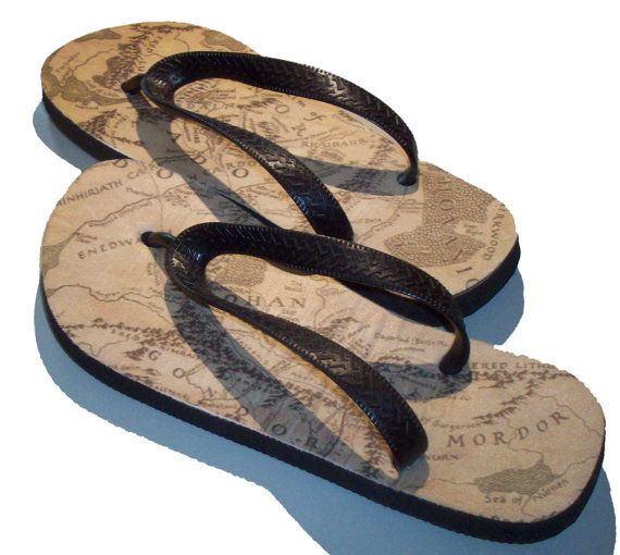 Simply Walk Into Mordor flip flops thongs sandals by GelertDesign