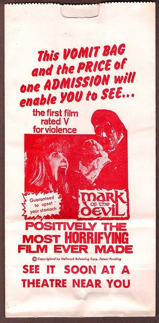 Mark Of The Devil original Barf Vomit Bag they handed out at the theater (1970).