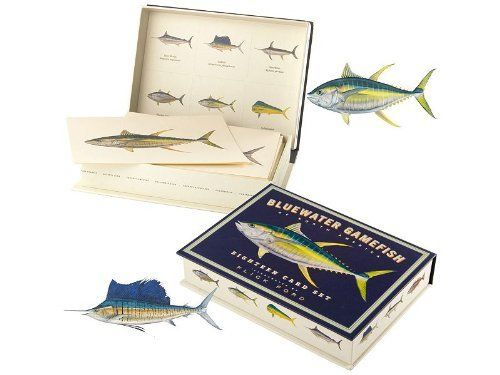 Bluewater Gamefish Eighteen Card Set - Individual Set by Melton Tackle. $24.99. Contains: 18-8x6 cards+envelopes (3 crd/env of each fish) in keepsake box. Illustrated by Flick Ford. Superbly reproduced in this set of eighteen cards are the most popular and beautiful gamefish. Flick Ford, world-renowned artist and angler, has perfectly captured these hard-fighting fish in a series of exquisite paintings. Each illustration is finely reproduced on high-quality pap...