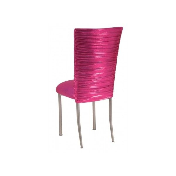 Chloe Metallic Fuchsia Stretch Knit Chair Cover and Cushion on Silver... ❤ liked on Polyvore featuring home, furniture, chairs, dining chairs, outside furniture, metallic furniture, bistro chairs, bistro bar stools and bistro furniture