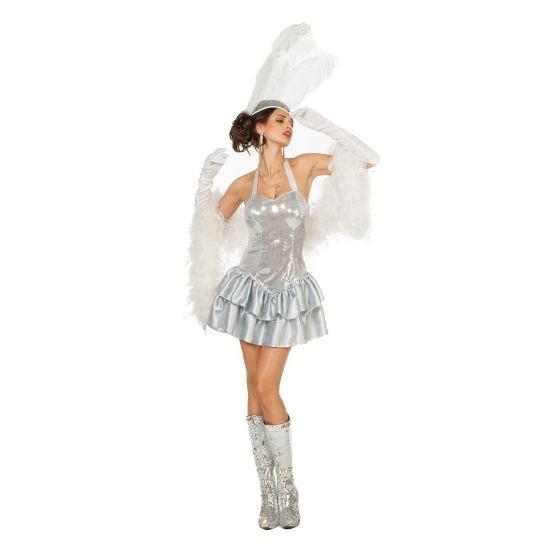 Zilveren halter jurk met pailletten voor dames. Een sexy halter jurkje met satijnen rok en pailletten op het lijfje. Leuk om u te verkleden als een showgirl. Accessoires zoals een hoofdtooi, handschoenen en pumps zijn los verkrijgbaar in onze webshop.